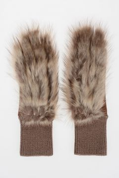 Leather Gloves with Fur in OXBLOOD