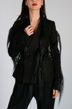 Leather HOLLYWOOD Jacket with Fur Details
