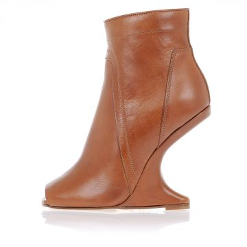 CANTILEVERED Ankle Boot Open Toe in Leather