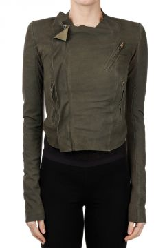 Leather LOW NECK BIKER Jacket PALM