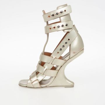 Leather CYCLOPS CANTILEVERED Sandals WARM SILVER
