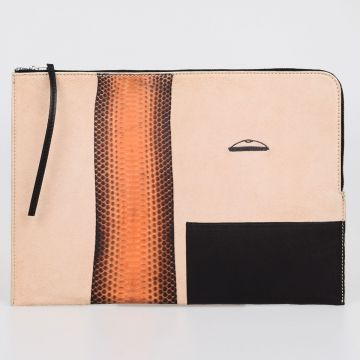 Leather LARGE ZIPPED POUCH COMBO Laptop Sleeve PAPAYA NATURAL