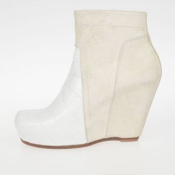 Zeppe CLASSIC ZIP WEDGE GATOR in Pelle MILK 13 cm