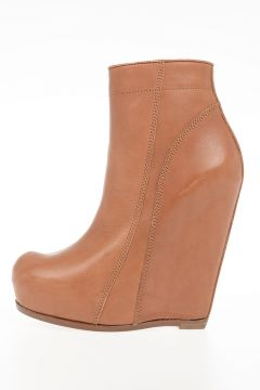 Stivale alla Caviglia TALL ZIP WEDGE in Pelle HENNA