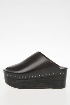 Leather PLAIN SABOT OPEN TOE DARKDUST