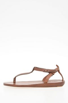 Leather T STRAP SANDAL col HENNA