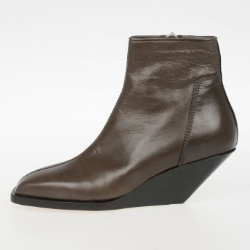 5cm Leather Low Ankle Boots Sliver