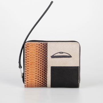 Leather ZIPPED SMALL COMBO Wallet PAPAYA NATURAL BLACK