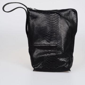 Python Leather Bucket Bag