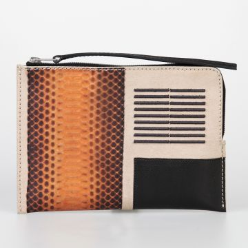 Portafoglio MEDIUM ZIPPED POUCH COMBO in Pelle PAPAYA NATURAL BLACK