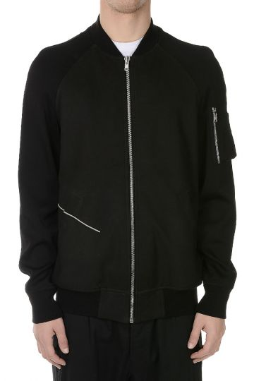 Leather DISCO BOMBER Jacket BLACK/PEARL