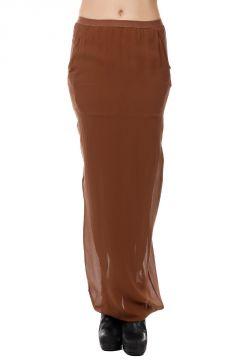 Silk SOFT PILLAR LONG Skirt  HENNA