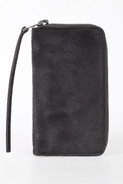 Leather ZIPPED WALLET in DARK DUST