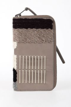 Leather EMBROIDERY ZIPPED WALLET in LIGHT COMBO