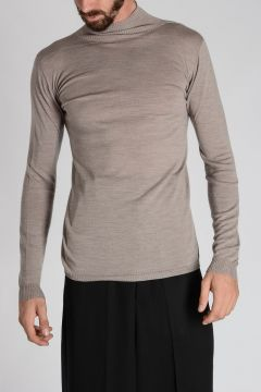 Virgin Wool TURTLE NECK Sweater PEARL