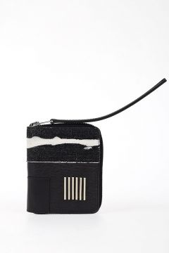 Leather EMBROIDERY ZIPPED WALLET SMALL