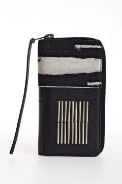 Portafoglio EMBROIDERY ZIPPED WALLET in Pelle
