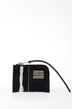Leather EMBROIDERY SMALL ZIPPED POUCH