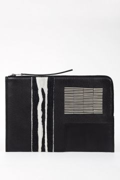 Leather EMBROIDERY LARGE ZIPPED Pouch