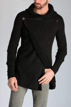Cashmere Blend HOODED CARDIGAN DARK DUST