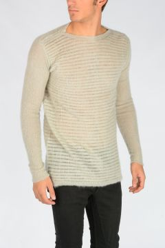 Maglia OVERSIZED ROUND NECK in Misto Mohair PEARL