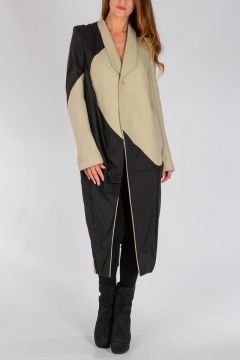 Virgin Wool Blend TUSK Coat VANILLA/BLK