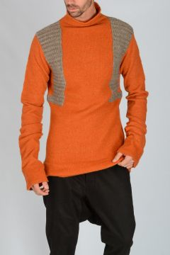 Maglia SWEATER SHORT in Misto Lana ORANGE/DNA