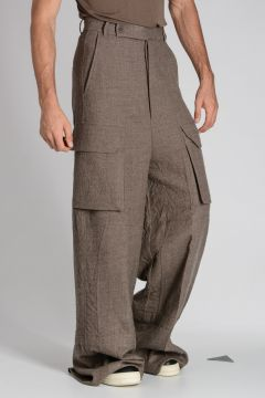 Pantalone FIRBANKS FLAT CARGO in Lana Vergine DNA DUST