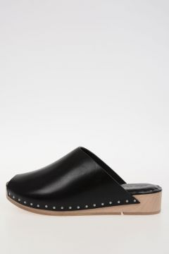 Leather ISLAND CLOGS Sabot BLACK/NATURAL