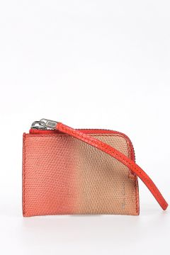 Leather SMALL ZIPPED POUCH in DEGRADE CORAL