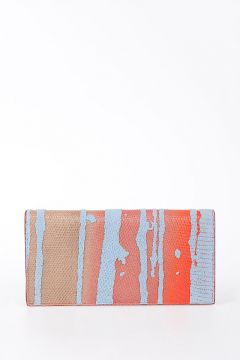 Leather CROSSBODY SOFT WALLET in RED/SKY