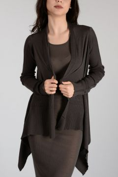 Virgin Wool MEDIUM WRAP Cardigan DARK DUST