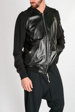 RAGLAN BOMBER Leather and Fabric Jacket