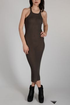 Viscose and Silk TANK DRESS DARK DUST