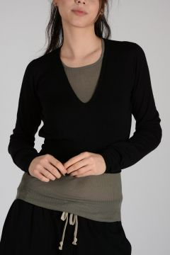 Virgin Wool GLITTER DEEP V NECK Sweater