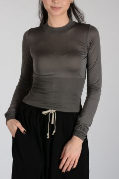 Silk CROPPED PLINTH TEE T-shirt DARK DUST