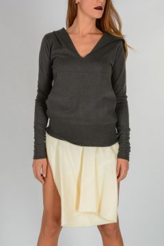 V NECK HOODIE Sweater in DARK DUST