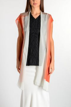 Gilet T TRENCH in Seta DEGRADE CORAL
