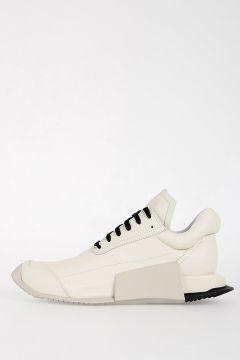 RICK OWENS FOR ADIDAS Leather LEVEL RUNNER LOW Sneakers MILK/DINGE