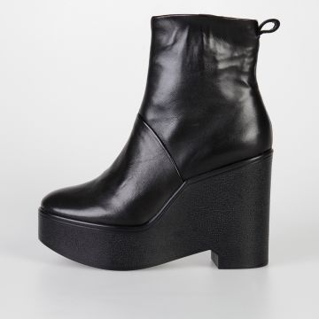 10,5 cm BISOUT Leather Wedge Boots