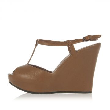 Leather Wedge Sandals 12 cm