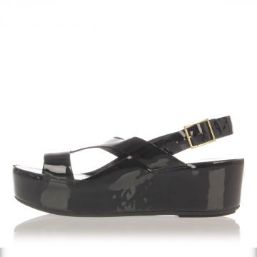 Patent Leather Wedge Sandals 5 cm