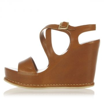 Leather Wedge Sandals 11 cm