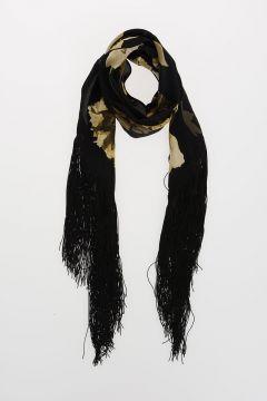 Fringed Silk FLORA Scarf 180x20 cm