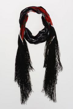 Fringed Silk ROSES Scarf 180x20 cm
