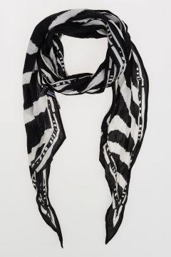 Fringed Silk ZEBRA Scarf 180x20 cm