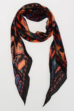 Fringed Silk PRICKLY PAISLEY Scarf 180x20 cm