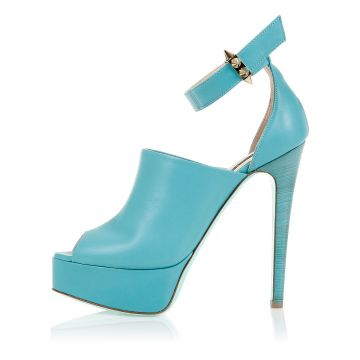 Heeled and Open Toe Leather Shoes