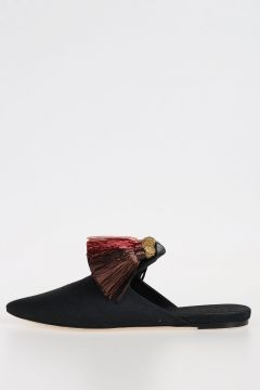 Slippers with Raffia Tassel