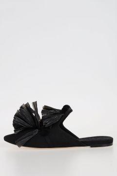 Slippers with Raffia Tassel